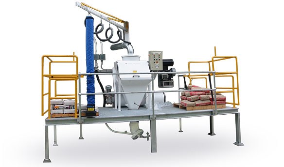 Bag dump station with vacuum lifter